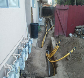 plastic gas lines in a trench